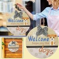 Panneau de bienvenue pour chiens  cintre de porte dentree  couronne avec noeud rond  signe Vertical dexterieur  decoration de la maison  3 couleurs  2021
