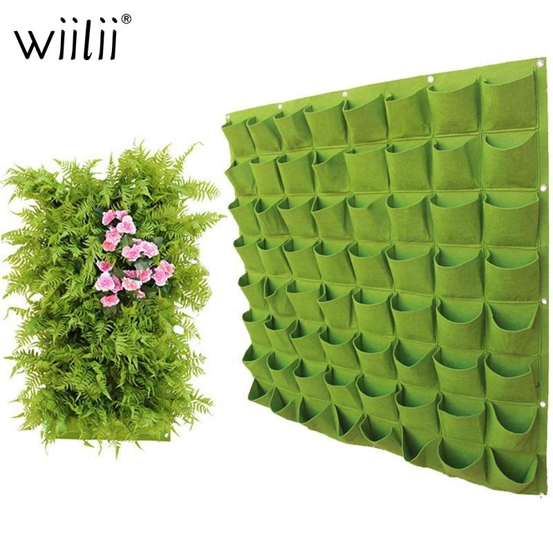 Bolsas de plantación colgantes de pared 4/9/18/49/72 bolsillos verde bolsa de cultivo jardín vertical macetero vegetal Living Garden suministros para el hogar