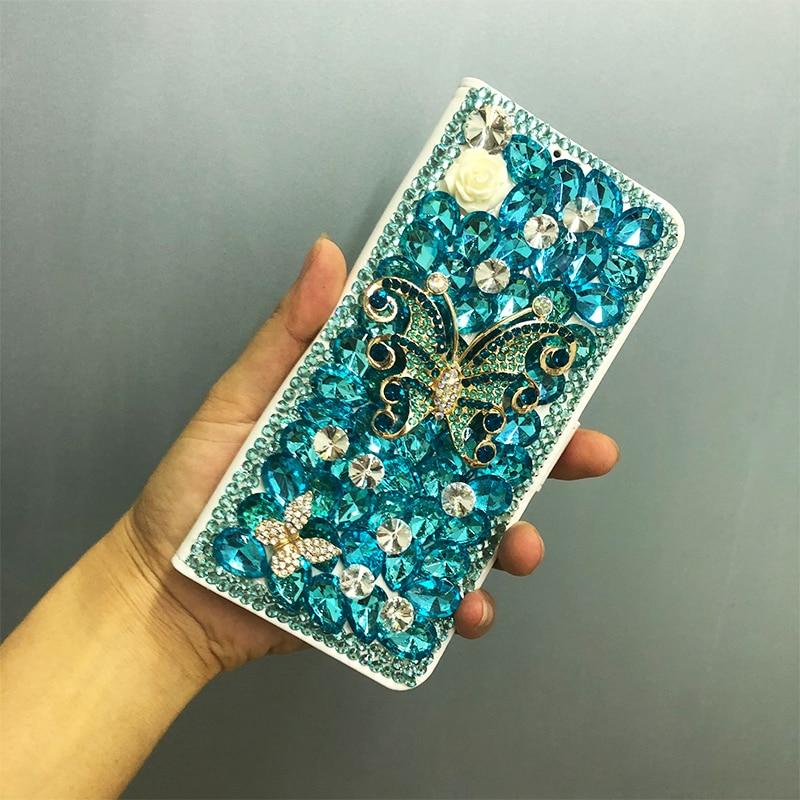 3D Bleu Papillon Fleur Cristal Diamant Flip Étui En Cuir Capa pour iphone 6 6s 7 8 Plus x xs xr xs max 11 pro max
