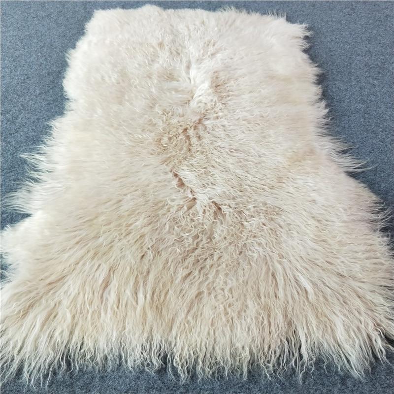 Preço de atacado tamanho personalizado 100% cobertor de pele de cordeiro mongol grosso macio real