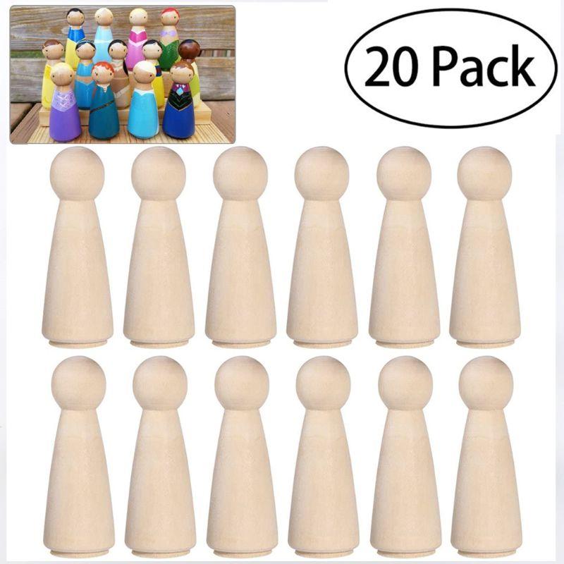 20 muñecas de madera Natural sin terminar, juguete para personas DIY, pintura Manual, Graffiti 19QB