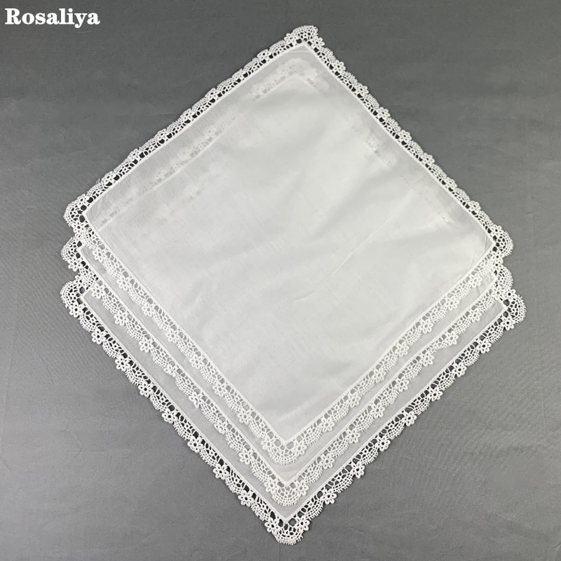 12 Uds. Pañuelo para damas de moda 100% blanco algodón Boda nupcial pañuelo bordado Vintage ribete de encaje pañuelos