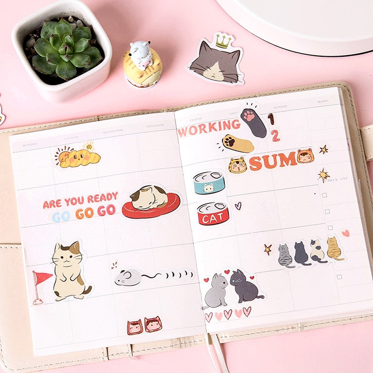 Mohamm 45 Pcs Cat Diary Decorative Stickers Scrapbooking DIY Paper Sticker Flakes Stationary Office Accessories Art Supplies