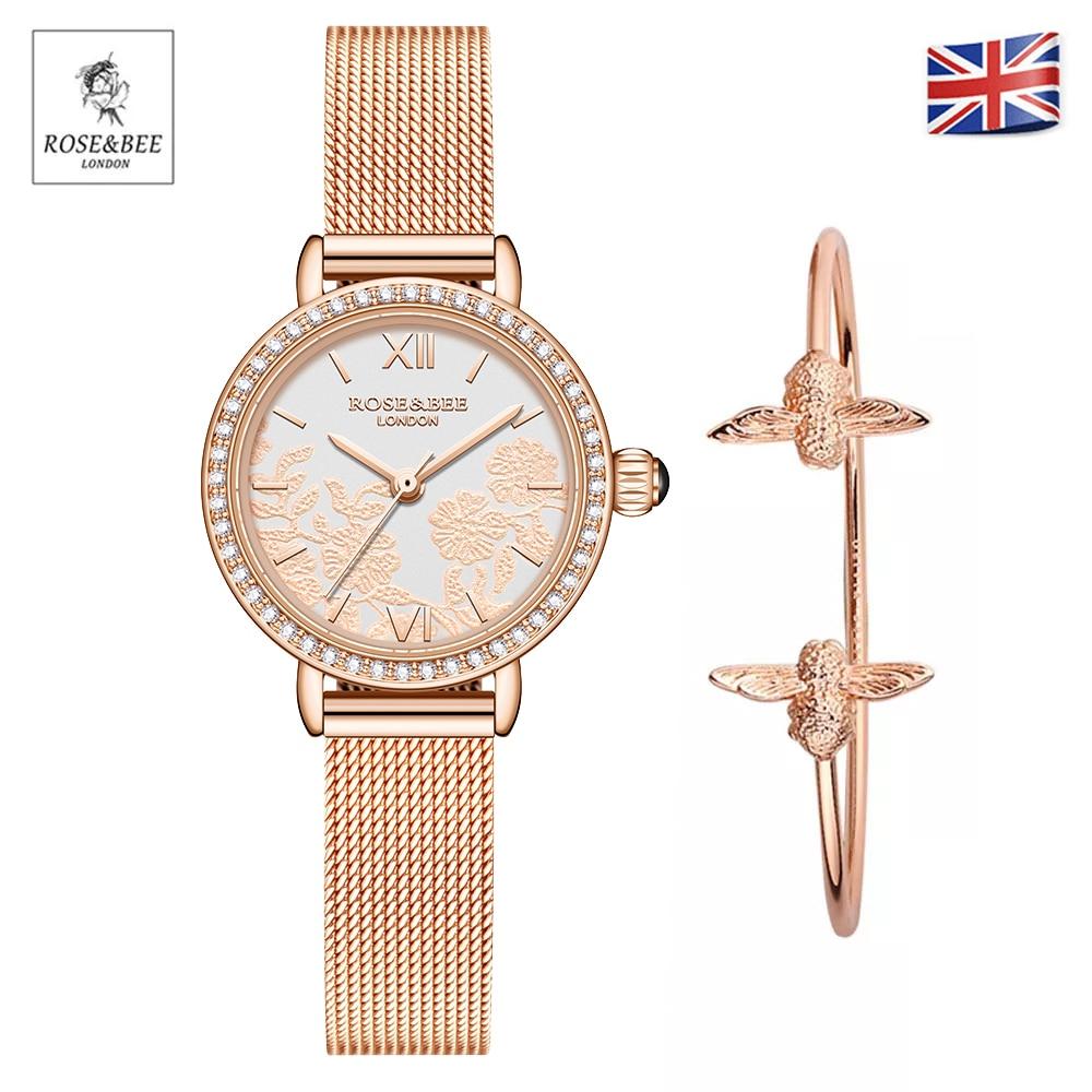 New Luxury Design Brand Women Watch With Bracelet Elegent Romantic Rhinestone Flowers Dial Waterproo