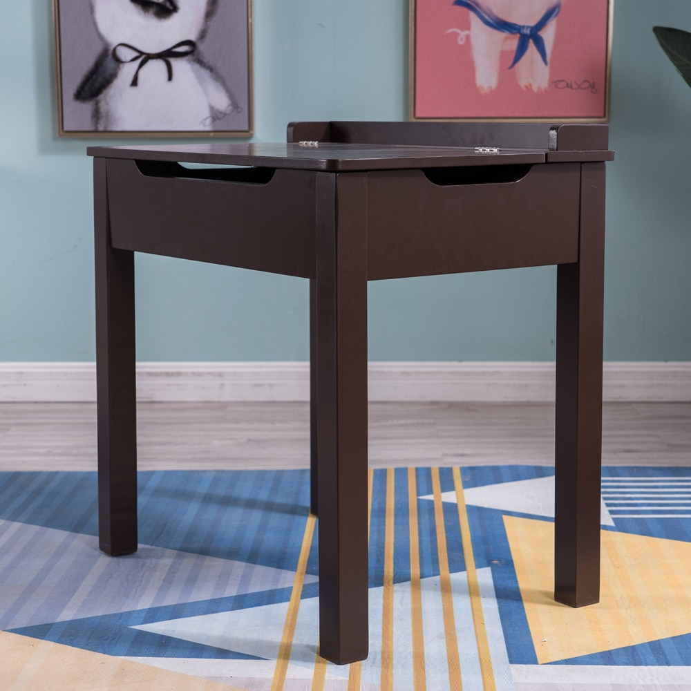 [59x40.5x59] سم MDF طاولة ومقاعد دراسة الأطفال 2 مجموعات من الأدراج يمكن فتحها ، 1 طاولة وكرسي واحد بني