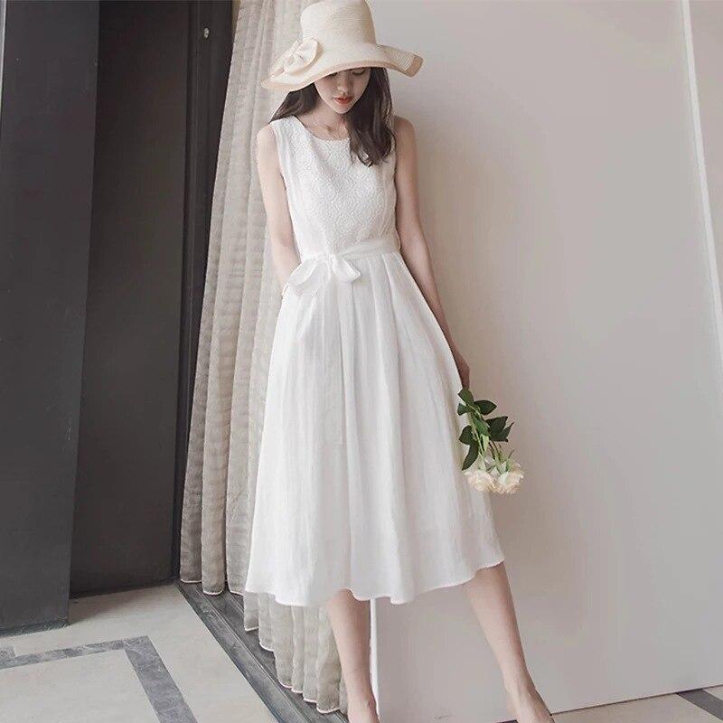 Vestido midi de gasa sin mangas para verano, elegante vestido blanco de...