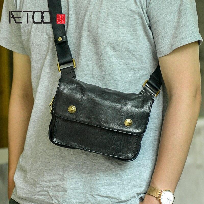 إيتوو حقيبة ساعي جلد أصلي للرجال ، حقيبة صدر للرجال ريترو متعددة الوظائف ، حقيبة كتف صغيرة جلدية