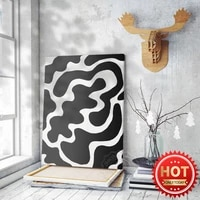 black and white dairy cow pattern art poster living room home abstrace canvas painting decor wall picture originality mural
