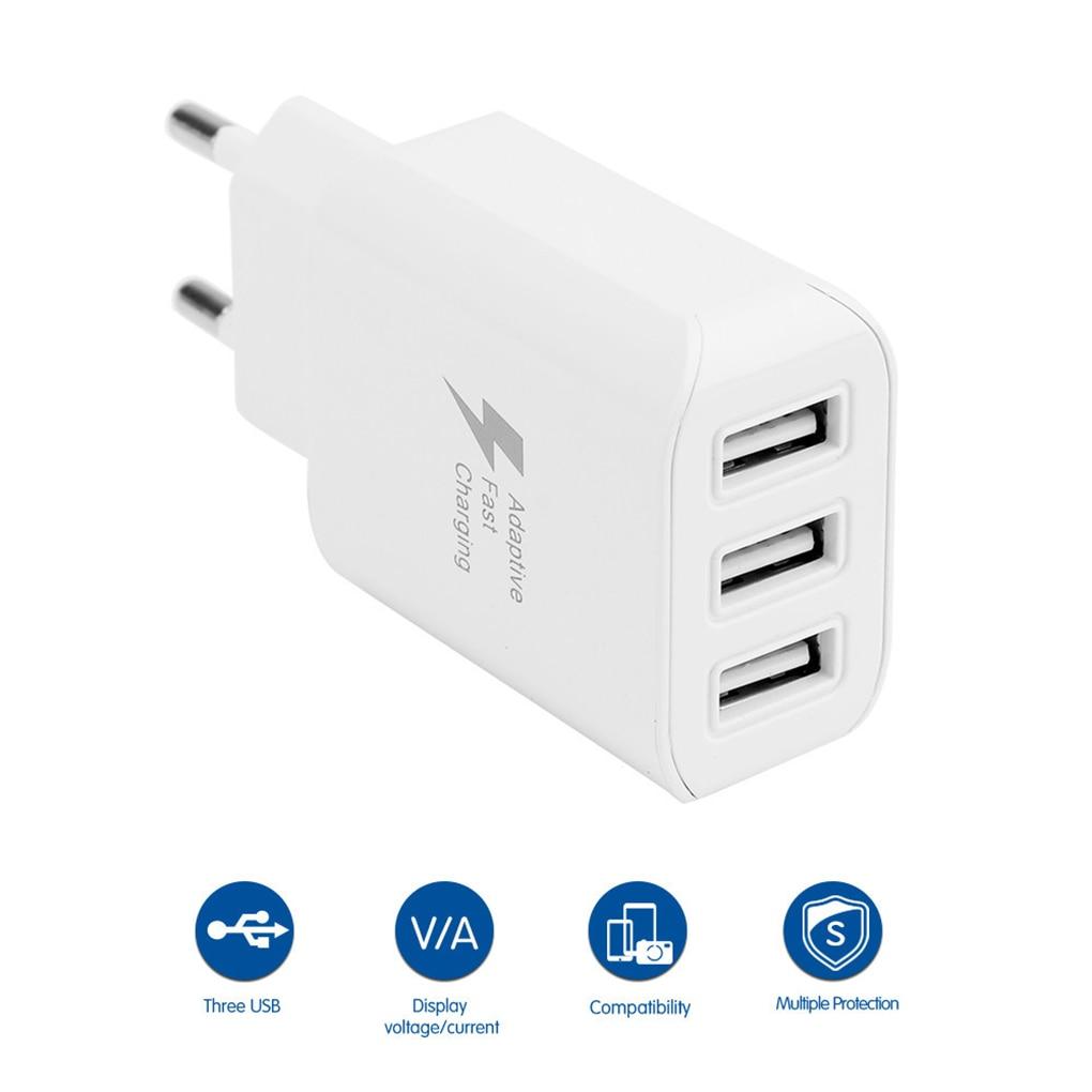 Cargador USB inteligente de 3 puertos, dispositivo para teléfono móvil, adaptador de pared de carga rápida, reemplazo para iPhone, Android, enchufe europeo