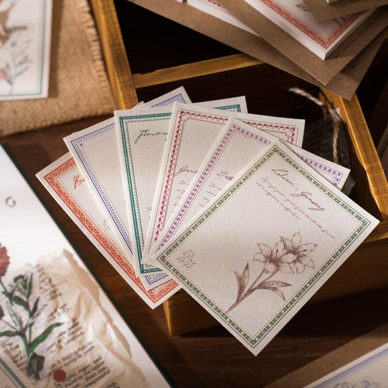 JIANWU 60pcs Nostalgic Flowers Ins Style Memo Pad Bullet Journal Note DIY Creative Decoration Pad School Supplies Stationery
