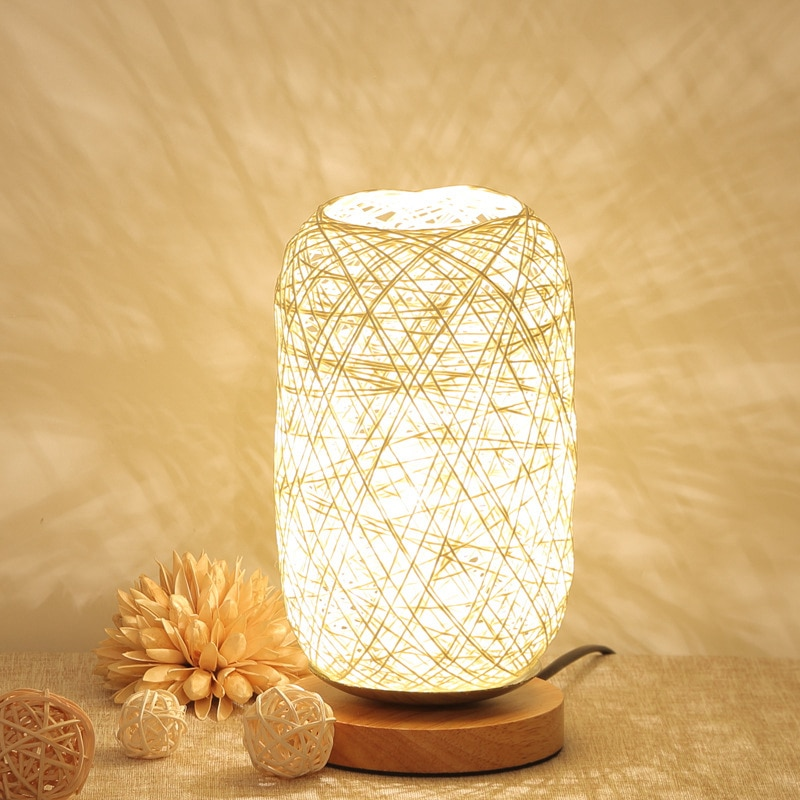 LED Remote Control Decorative Table Lamp USB Wooden Art Atmosphere Light Wedding Home Bedroom Dinner Party Home Decor