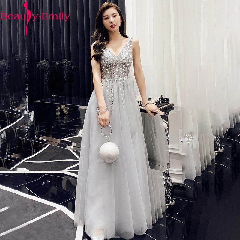 فستان سهرة طويل مطرز بالخرز ، طويل ، مثير ، بدون أكمام ، ظهر مفتوح ، رمادي ، ياقة على شكل V ، ترتر ، 2021