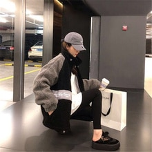 Korean Fashion Lamb Wool Coat Women Winter New Fleece-Lined Thicken Harajuku BF Cotton Coat Thickeni