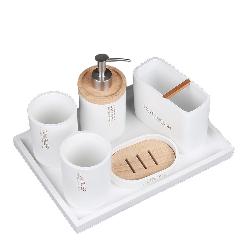 Bathroom Set Ceramic The Bathroom Decor Liquid Soap Dispenser Toothbrush Holder Cups Soap Dish Tray Set Washroom Products Decor enlarge