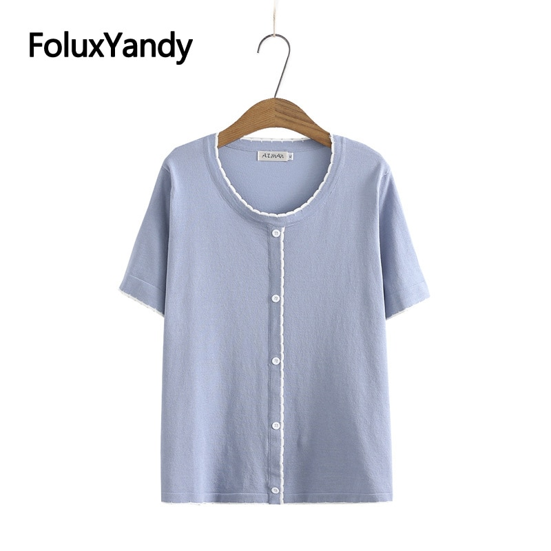 Contrast Color Women Short Sleeve T-Shirt Plus Size Tops Tees Knitted Casual Summer O-neck Tops KKFY5549 new summer women tees ladies simple pullover tops korean solid o neck casual slim knitted short sleeve top