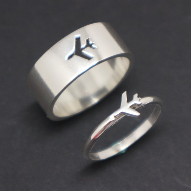 MKENDN Airplane Couple Ring for Women Men Pilot & Flight Butterfly Dinosaur Shark Ring Attendant Wed