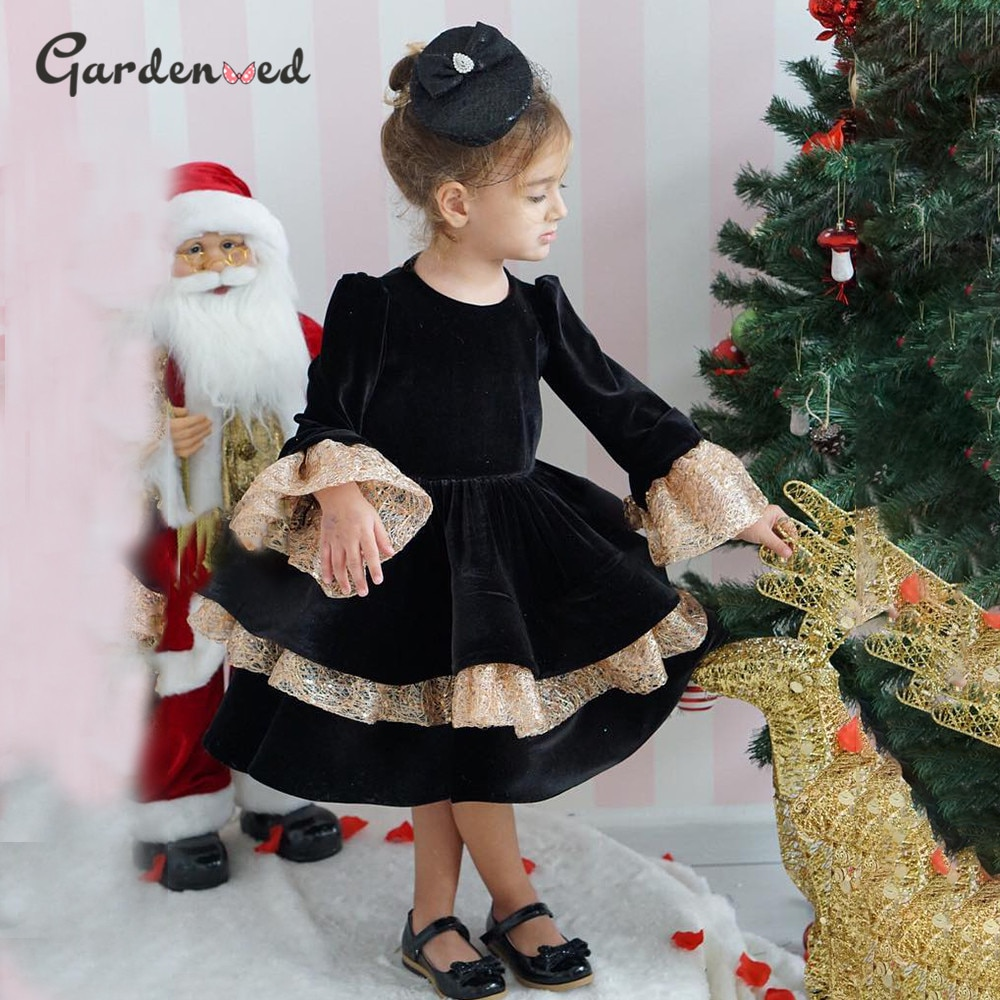Elegant Ball Gown Girl Wedding Party Dress Flare Sleeve Illusion Back Shiny Girl Princess Dress Tiered Puffy Girl Birthday Dress frilled sleeve brush stroke grid tiered dress
