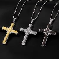 hip hop fashion jesus cross necklace pendant male and female titanium steel long hang drop accesories