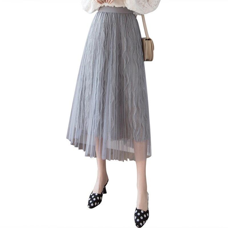 Korean Style splicing velvet pleated Pure Color skirt maxi skirt tulle skirt Gauze skirt Black White Apricot Gray women skirt