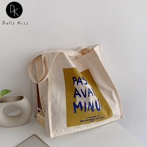 Women Canvas Shopping Bag Ladies Oil Painting Double-Sided Letter Printed Handbag Female Eco-Friendly Shoulder Bag Grocery Bag