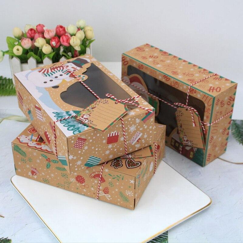 3/6/12 Teile/satz Weihnachten Cookie Boxen Bäckerei Geschenk Boxen für Weihnachten Candy Santa Schokolade Box Party Snacks kraft Papier Box