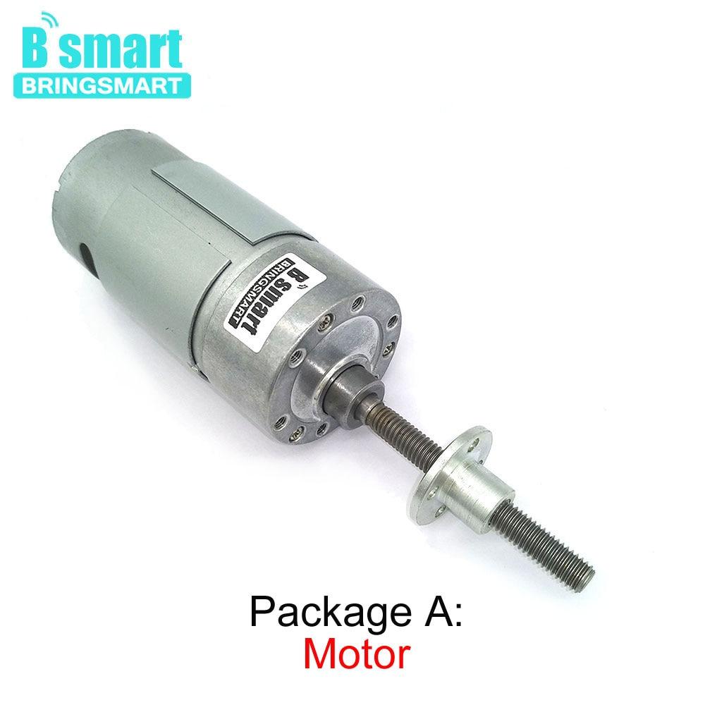Bringsmart 12V Micro Electirc Motor de eje largo DC Motor 6V eje roscado para piezas de bricolaje JGB37-550 con brida