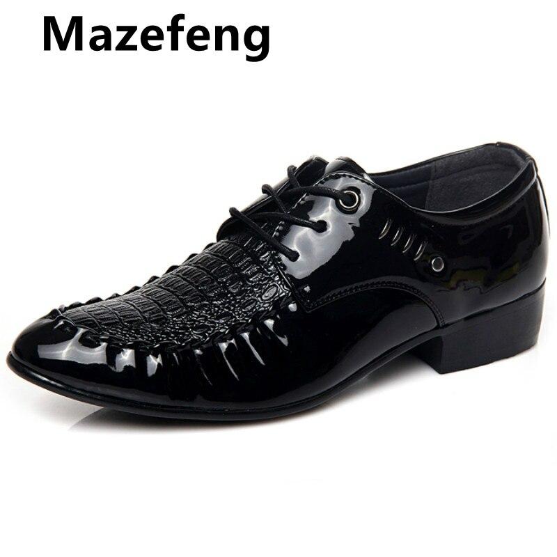 Italiano Zapatos De los hombres De cuero De Zapatos De cocodrilo Zapatos...