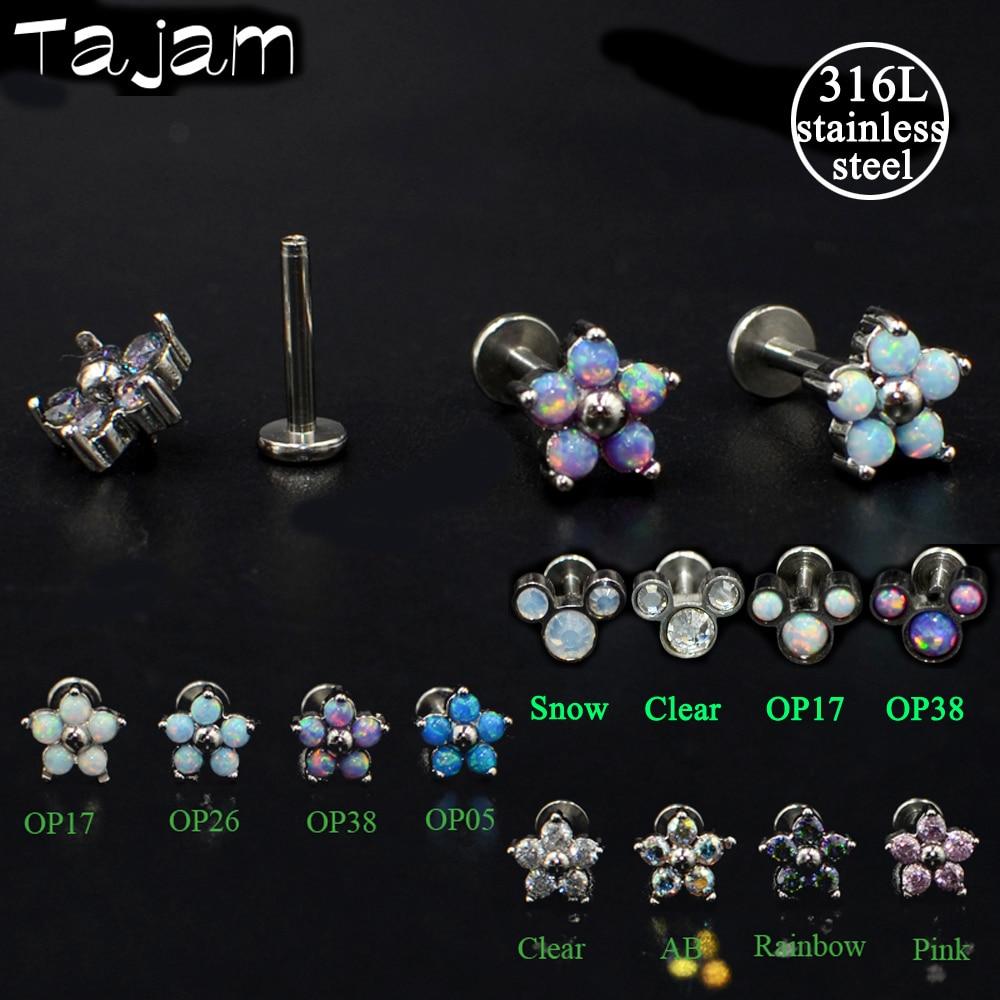 1 unidad de anillos de acero de cristal Labret Monore Piercing de labio zirconio ópalo flor oreja de cartílago hélice pendiente de tuerca para el trago Piercing envío gratis