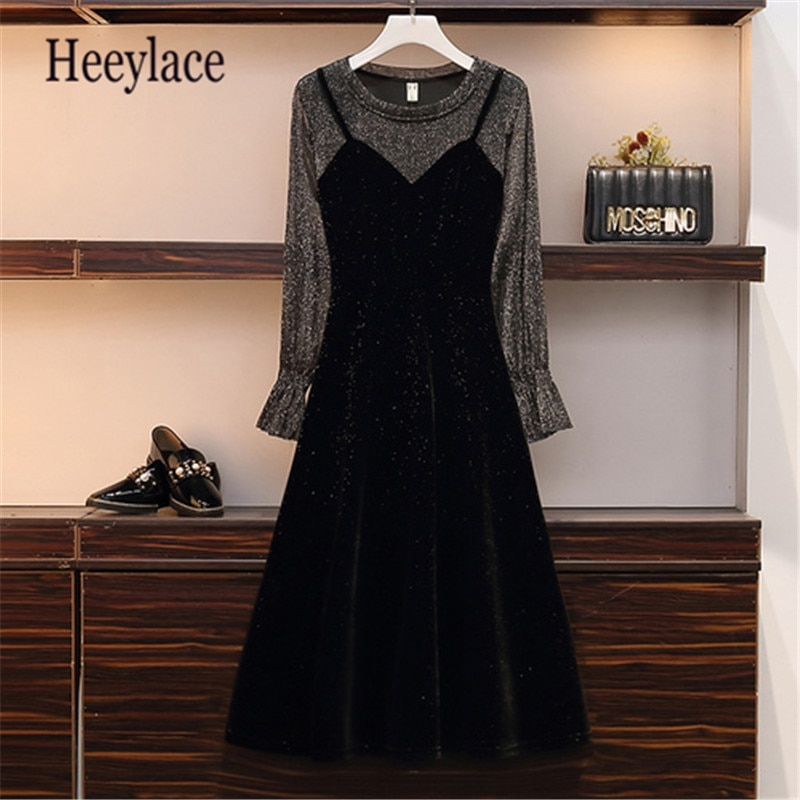 Plus Size High Quality 2019 New Women Autumn Vintage Long Sleeve Patchwork Dresses Female Fashion Slim Dress Vestidos 5XL