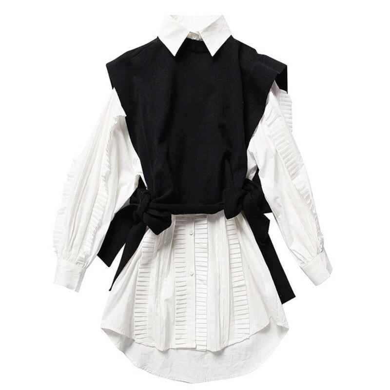 2021 ربيع جديد موضة ملابس حريمي الرقبة المستديرة الأكمام Knits سترة بدوره إلى أسفل طوق الكشكشة واحدة الصدر فستان