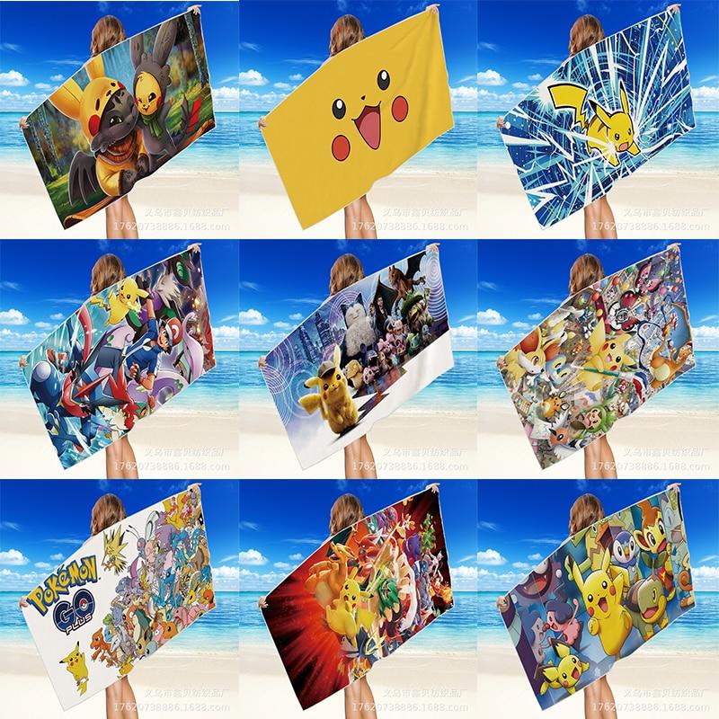 pikachu-ビーチとプール用のバスタオルリバーシブルベルベット速乾性多機能タオル