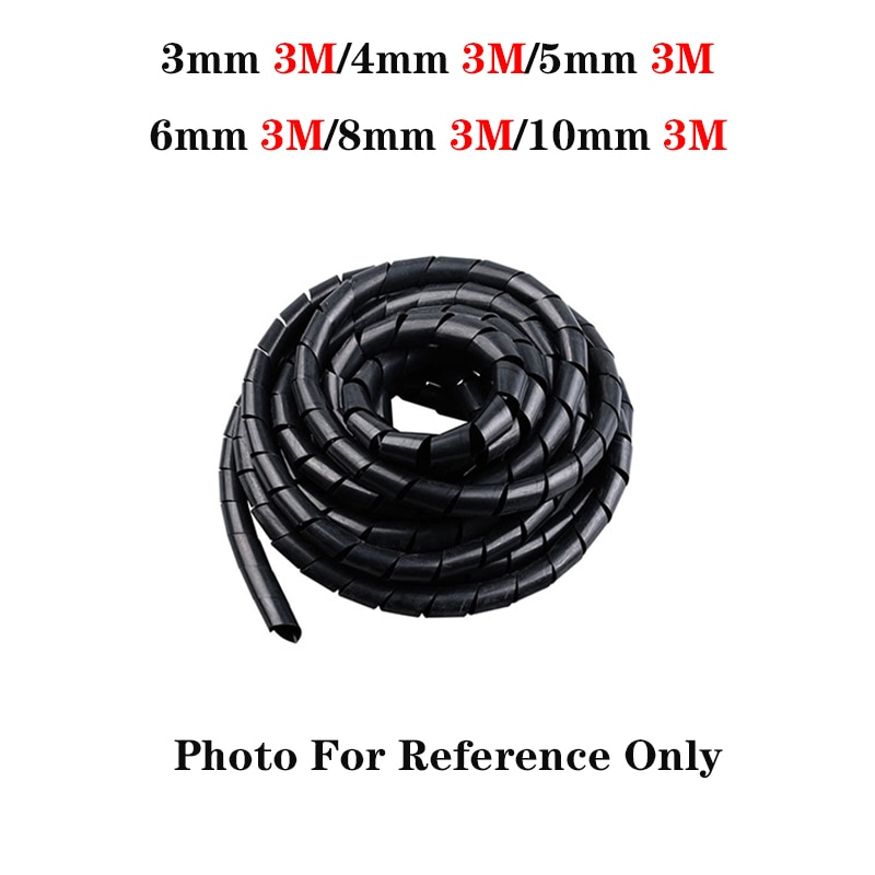 3mm/4mm/5mm/6mm/8mm/10mm New Spiral Wrap Sleeving Tube Flame Retardant Cable Protective Sleeve Band Winding Pipe Wire Sleeves