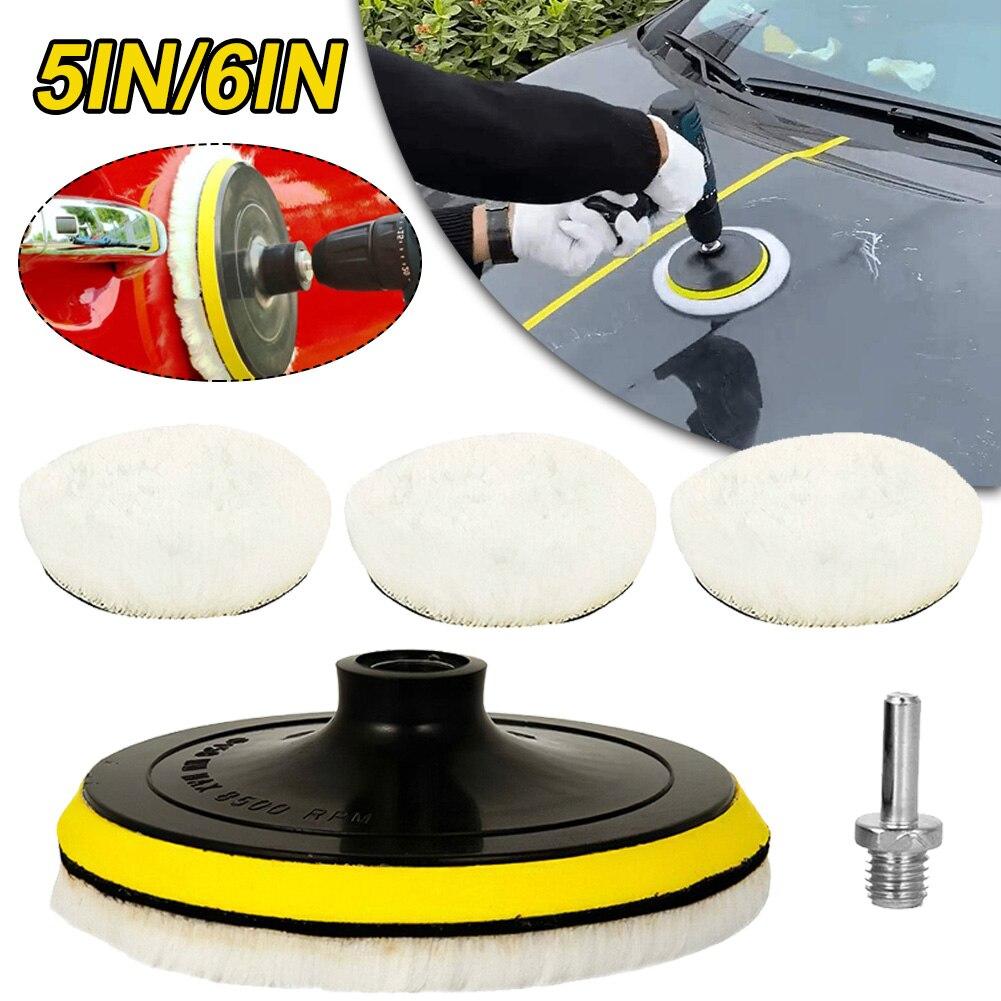 Универсальная автомобильная полировальная Накладка 5/6 дюймов, для автомобильного полировального станка, Мягкая шерстяная машинка, зеркаль...