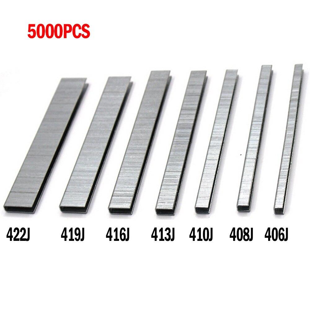 5000PCS 406J/408J/410J/413J/416J/419J/422J Straight Nail Gun Nail U-Shaped Nail Electric Nail Gun Stapler Nail Woodworking Tools