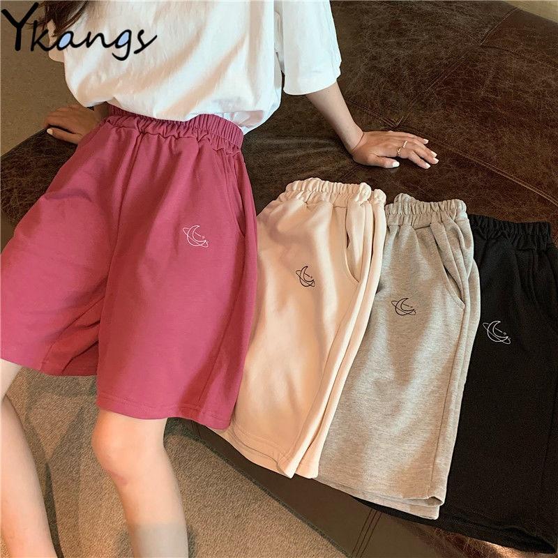 Harajuku Elastic High Waist Moon Embroidered Shorts Women Loose Sport Summer BF Casual Running Shorts Women Biker Baggy Short
