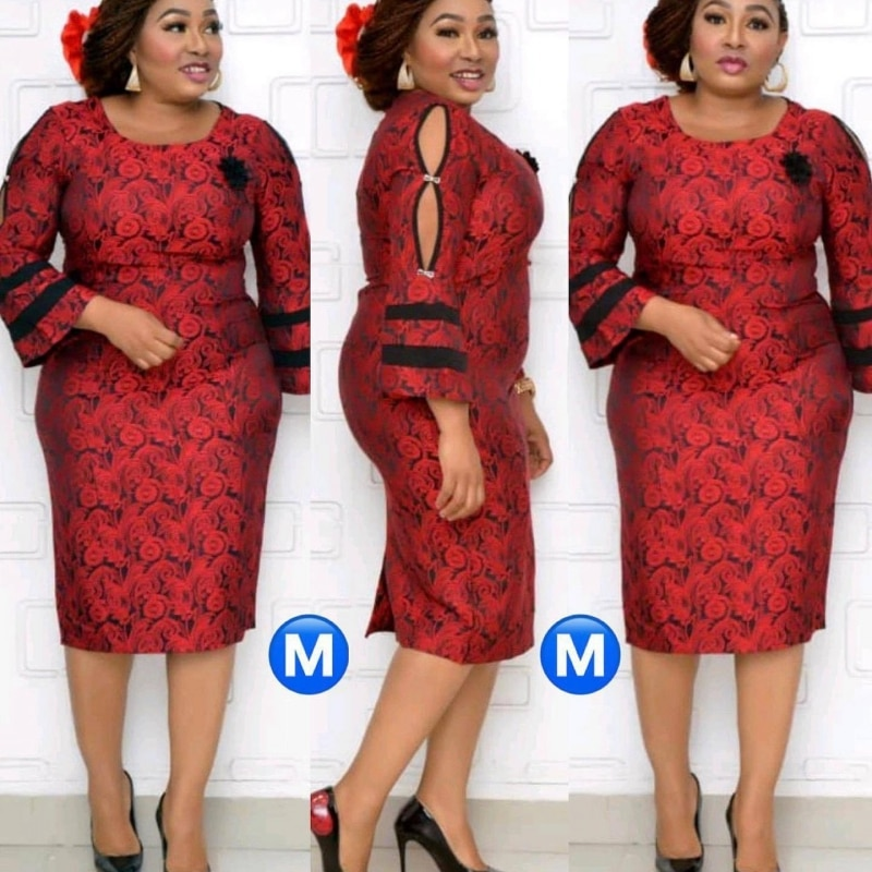 2020 Autumn Fashion African Women O-neck Polyester Plus Size Midi Dress African Clothing African Dresses For Women 2XL-6XL