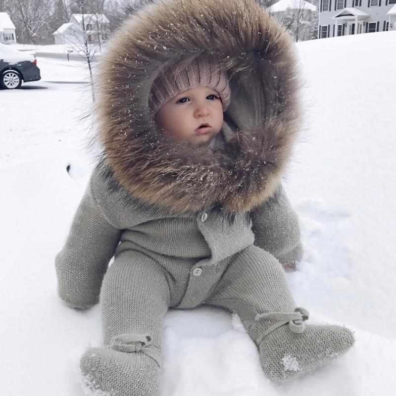 Baby Born Rompers Newborn Knitted Clothes Winter Baby Boys Girls Fur Hooded Jumpsuit Infant Toddler Long Sleeve Playsuit Onesies autumn winter chidlren sweaters for newborn baby girls cardigans fashion white long sleeve toddler infant knitted jacket clothes