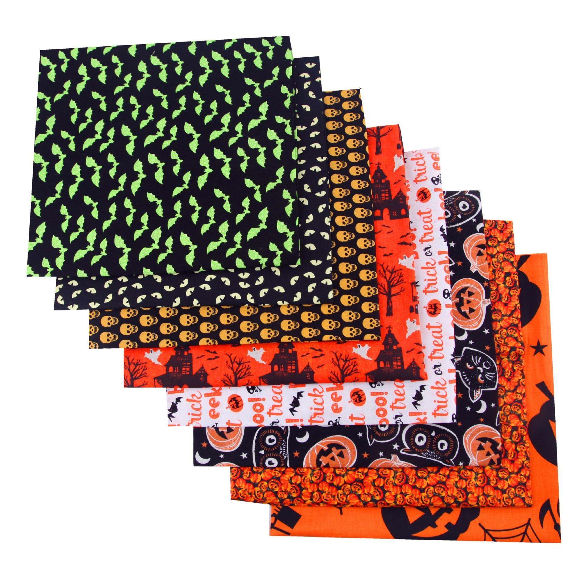 Tela de algodón con patrón de Halloween tema de Halloween cráneo calabaza Bat prenda de tela de algodón grupo Patchwork tela