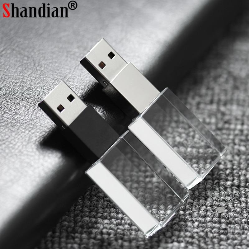 SHANDIAN Crystal usb sticks 3D print custom logo 4GB 16GGB usb flash pendrive 32GB 64GB transparent glass(over 10 pcs free logo)