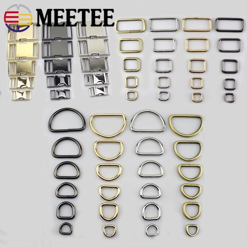 4 pièces Meetee 15-38mm métal O D anneau broches boucles fermoir Web ceinture sac à dos sacs sac à main chaussures vêtement collier couture artisanat cuir bricolage