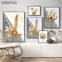 golden leaves canvas poster flowers wall art print painting nordic decorative picture scandinavian modern living room decor