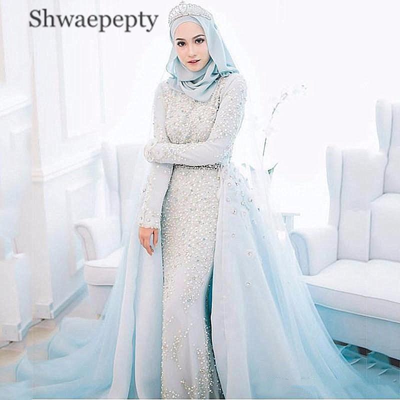 فستان زفاف إسلامي أزرق فاتح ، مطرز باللؤلؤ ، أكمام طويلة ، وشاح ، ثوب زفاف إسلامي قابل للإزالة ، 2021