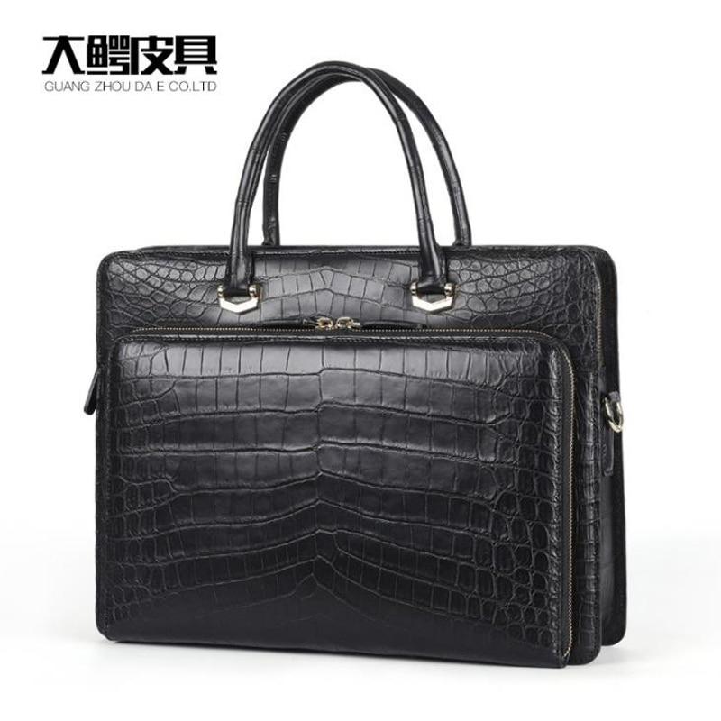 Elegant 100% Genuine Crocodile Leather Men Business Laptop Bag Men Black Crocodile Belly Skin Men Briefcase Bag Front Flap