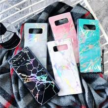 Funda de teléfono de mármol brillante con láser para Samsung Galaxy S7, S8, S9, S10, S10E, Note 8, 9, 10 Plus, Pro Edge, funda protectora de silicona
