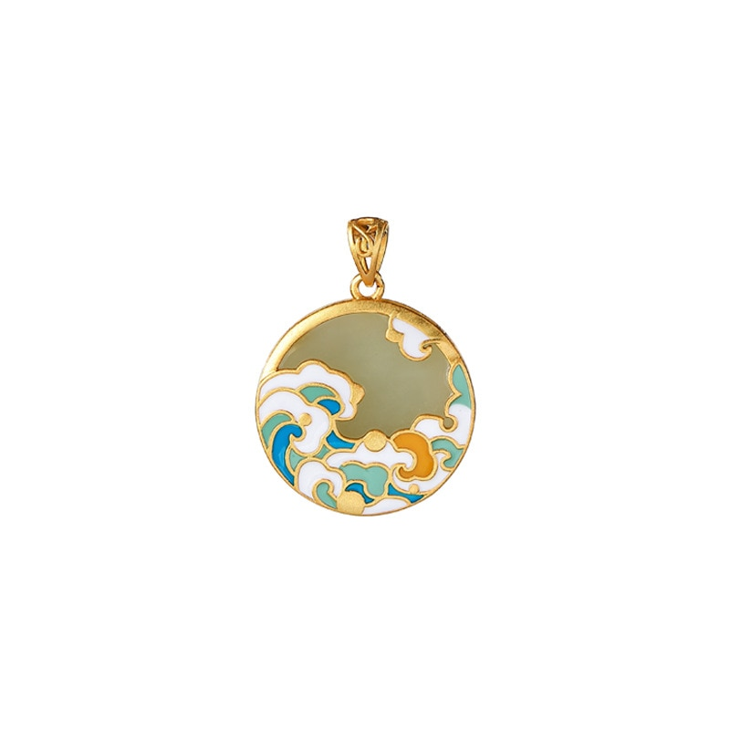 S925 sterling silver gold plated Natural Hetian jade Gray jade Retro Cloisonne Xiangyun HAILANG Peace buckle Pendant