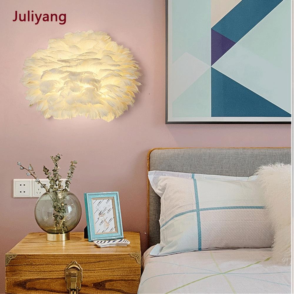 Lámpara de pared de pluma moderna lámpara de cabecera de dormitorio pasillo sala de estar creativa cálida romántica arte accesorios de luz AC85-265V 18w