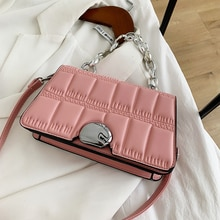 Ladies Soft Waterproof Leather Chain Crossbody Bags for Women 2021 Casual Handbags Concise Small Squ