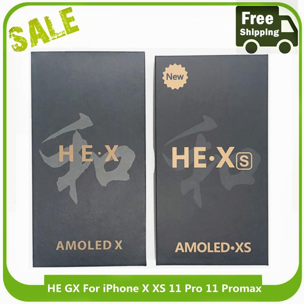 100% HE GX JK OLED LCD بانتيلا عرض آيفون X XS شاشة LCD تعمل باللمس محول الأرقام الجمعية آيفون XSMAX 11 برو ماكس