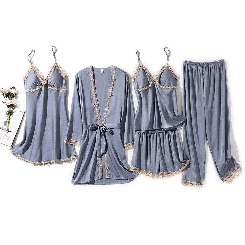 ربيع صيف جديد الدانتيل مثير النساء رداء دعوى طويلة الأكمام خمس قطع مجموعة Bathrobe فضفاضة غير رسمية الحرير الساتان الإناث Homewear