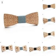 Gravata de madeira masculina elástica suave arco colar flor laço de madeira laços moda linda gravata borboleta com gato bonito para o menino